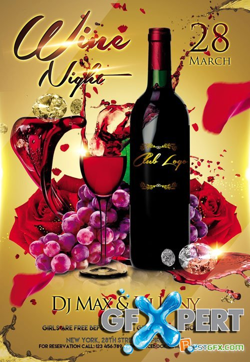 Free Flyer Psd Template Wine Night Invitation Plus Fb Cover Download