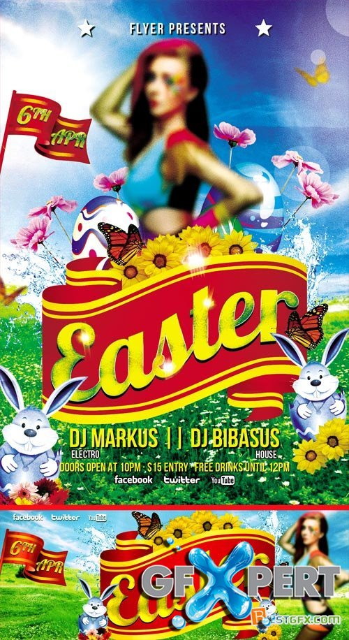 PSD Flyer Template - Easter Party plus FB Cover