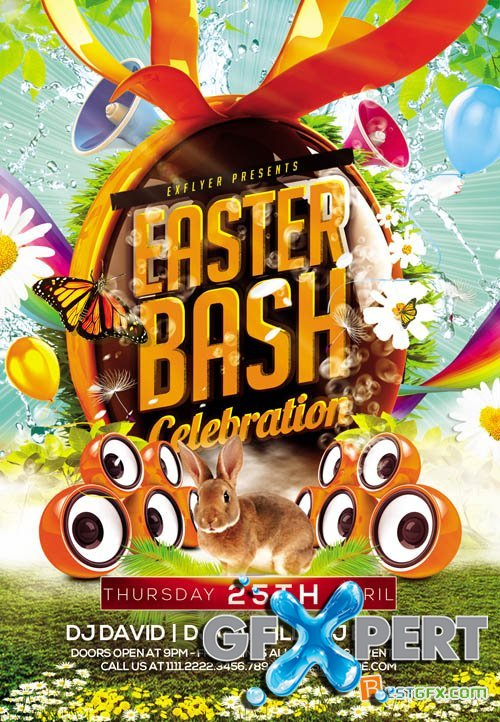 Free Flyer Template - Easter Bash Plus Fb Cover Download