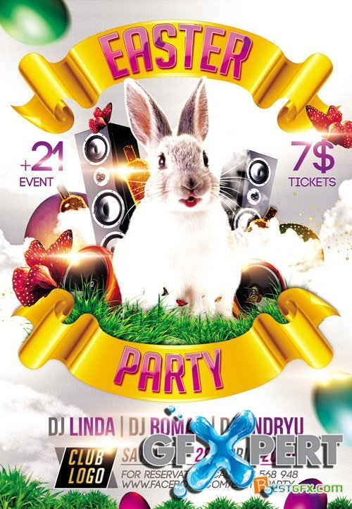 Flyer PSD Template - Easter Party 2015 plus FB Cover