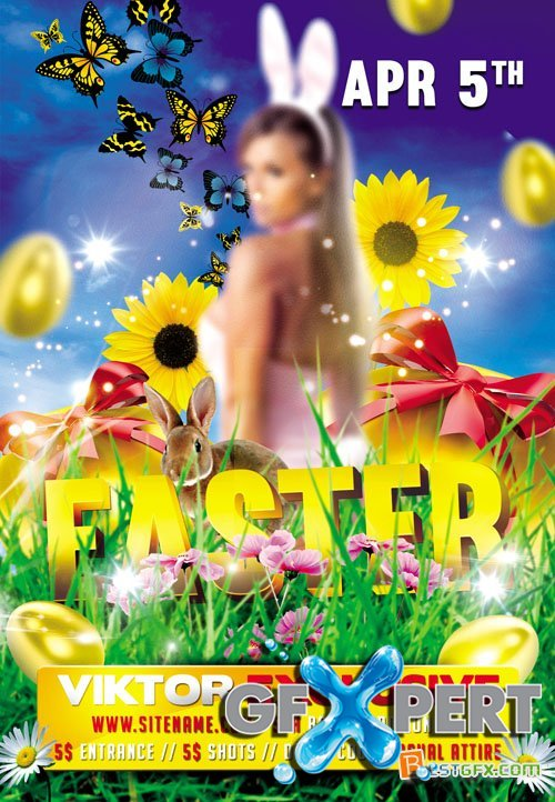 Premium Flyer Template - Easter Party plus FB Cover