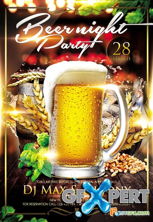 Flyer PSD Template - Beer Night plus FB Cover