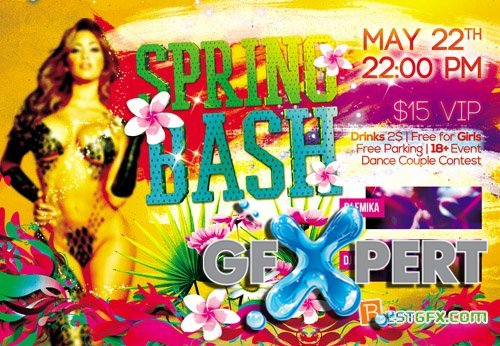 Flyer PSD - Easter and Spring Bash Party Templates plus FB Cover