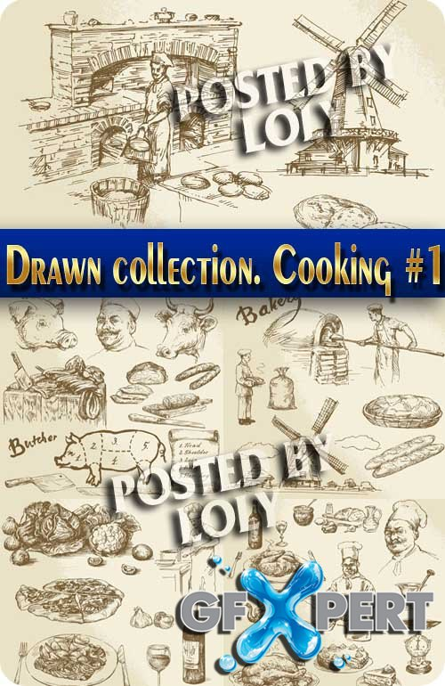 Hand drawn collection. Cooking #1 - Stock Vector