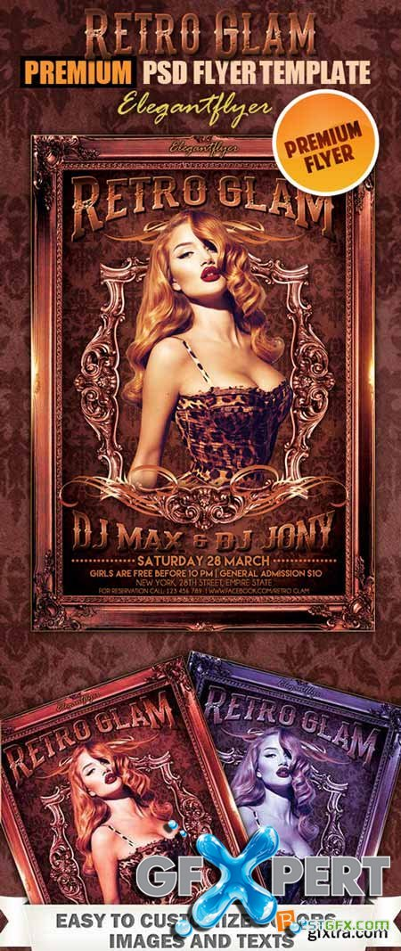 Elegantflyer Retro Glam Flyer PSD Template + FB Cover