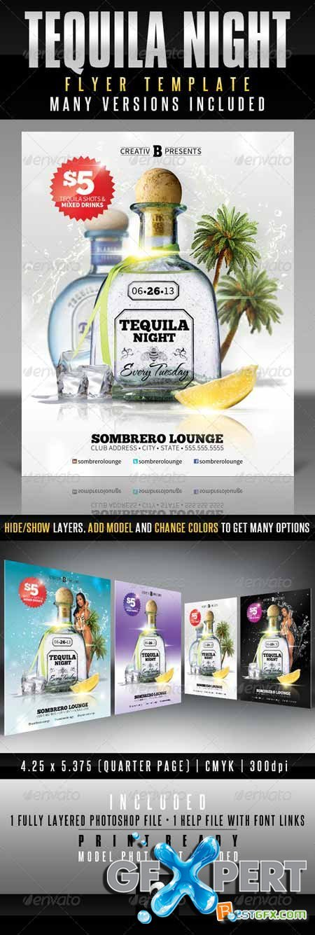Graphicriver Tequila Night Flyer Template 4071298