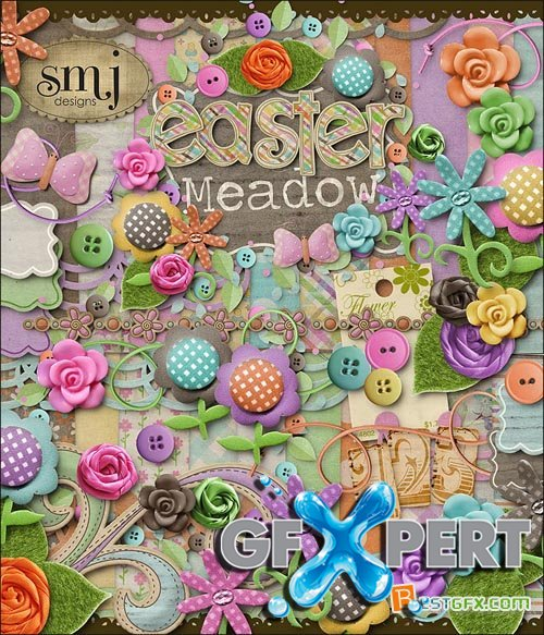 Scrap - Easter Meadow JPG and PNG