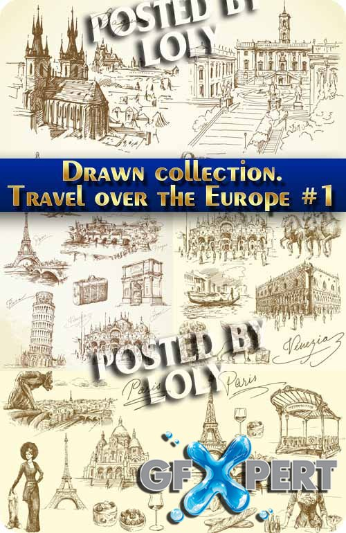 Hand drawn collection. Travel over the Europe #1 - Stock Vector