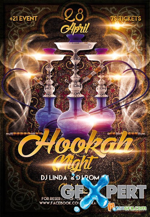 Flyer Template - Hookah Night plus FB Cover