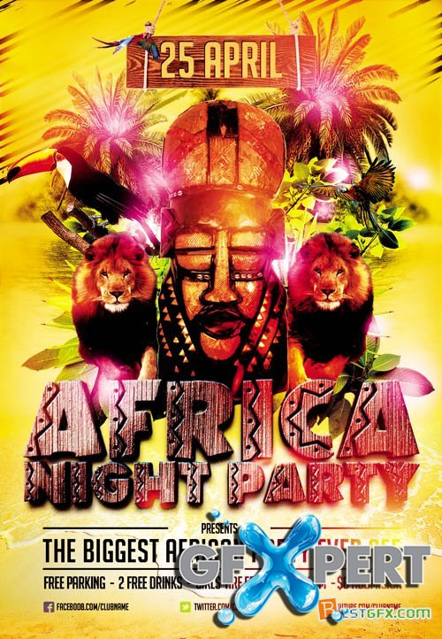Flyer Template - Africa Night Party plus FB Cover