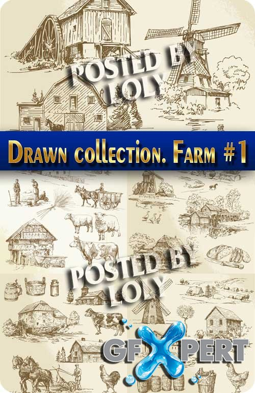 Hand drawn collection. Farm #1 - Stock Vector