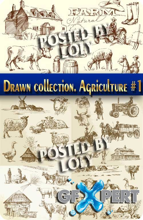 Hand drawn collection. Agriculture #1 - Stock Vector