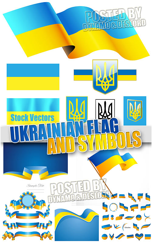 Ukrainian flags and ribbons - Stock Vectors