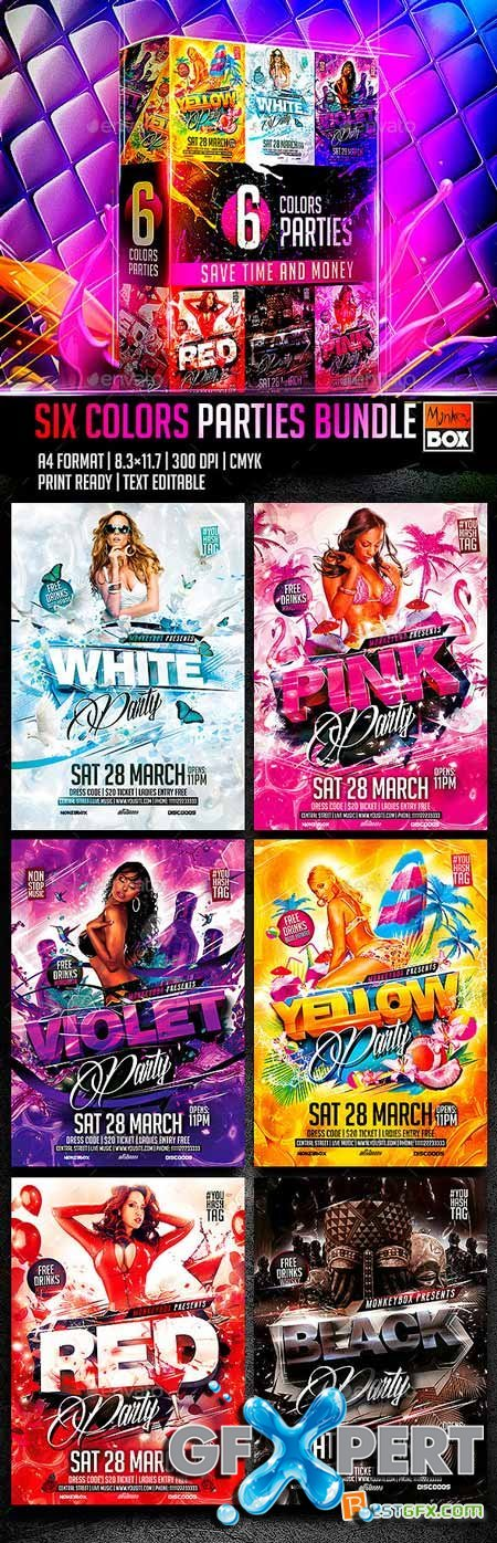 Graphicriver Six Colors Parties Bundle 10986178