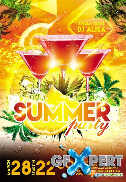 Flyer Template Facebook Cover - Summer Party 3