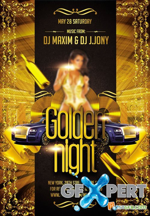 Flyer PSD Template - Golden Night 2 FB Cover