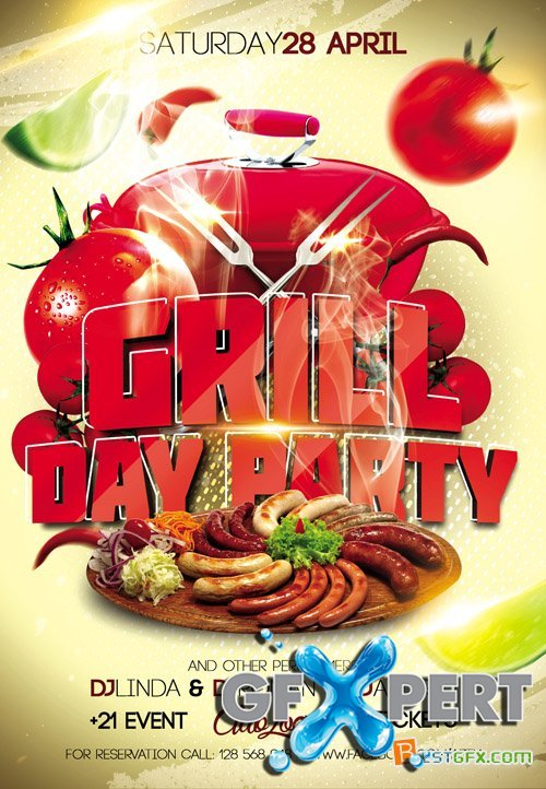 Flyer Template - Grill Day Party Facebook Cover