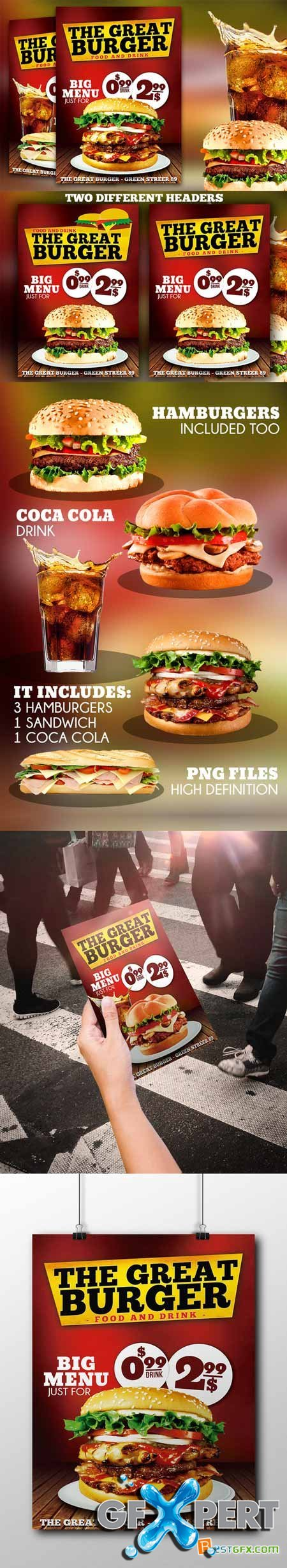 Creativemarket Burger Fast Food Flyer Restaurant 244842