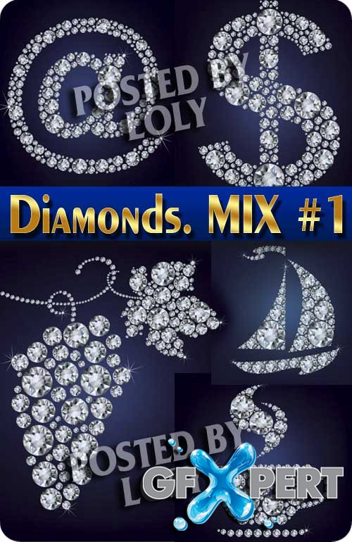Diamonds. MIX #1 - Stock Vector