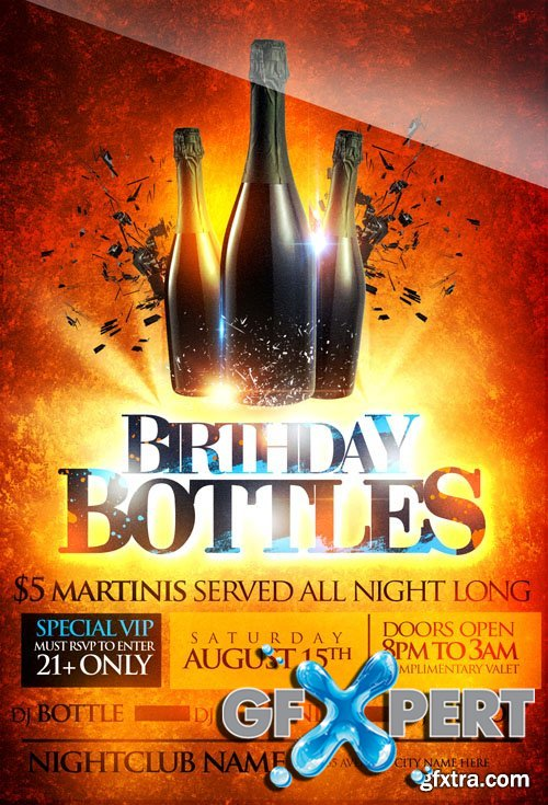 Bottle Birthday VIP Flyer Template