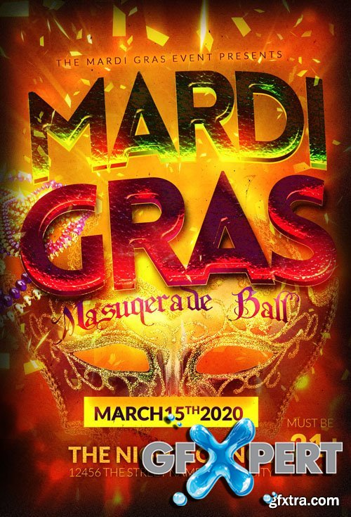 Mardi Gras PSD Party Flyer Template
