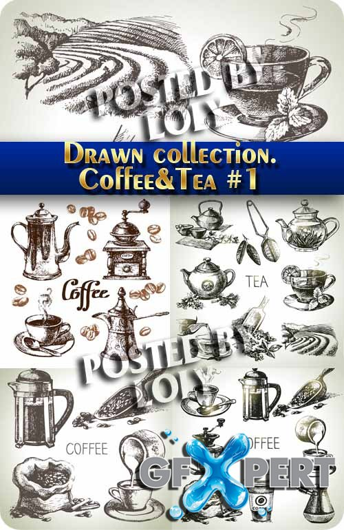 Hand drawn collection. Coffee and  tea #1 - Stock Vector