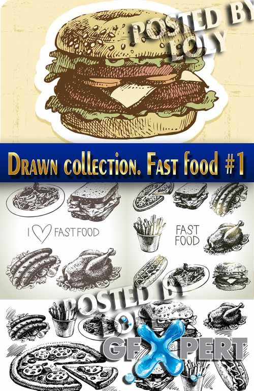 Hand drawn collection. Fast food #1 - Stock Vector