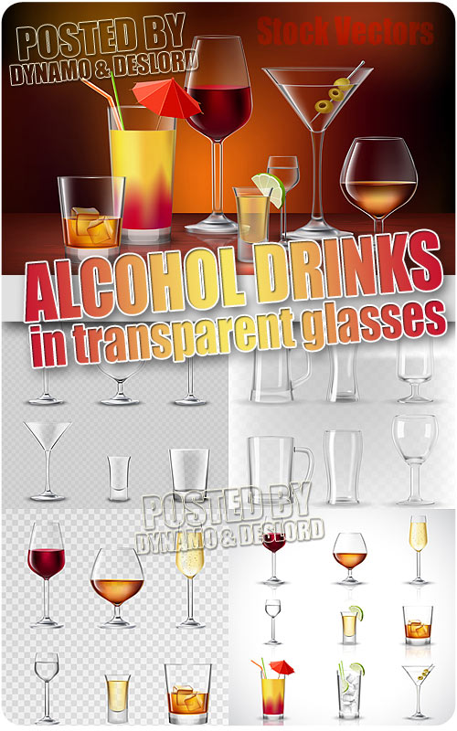 Alcohol drinks transparent - Stock Vectors