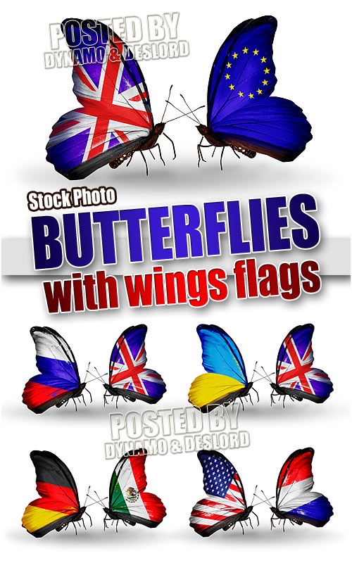 Two butterflies with flags - UHQ Stock Photo