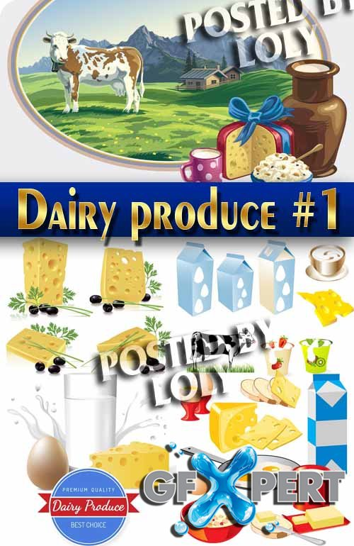 Dairy produce #1 - Stock Vector