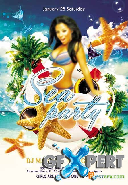 Sea party Flyer PSD Template + FB Cover