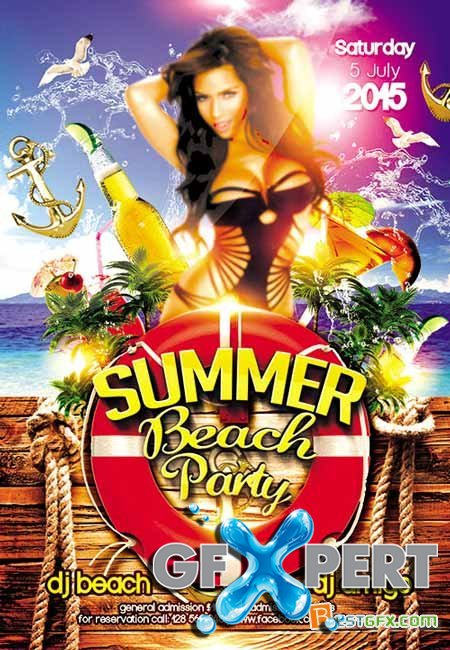 Summer Beach Party 2 Flyer PSD Template + FB Cover