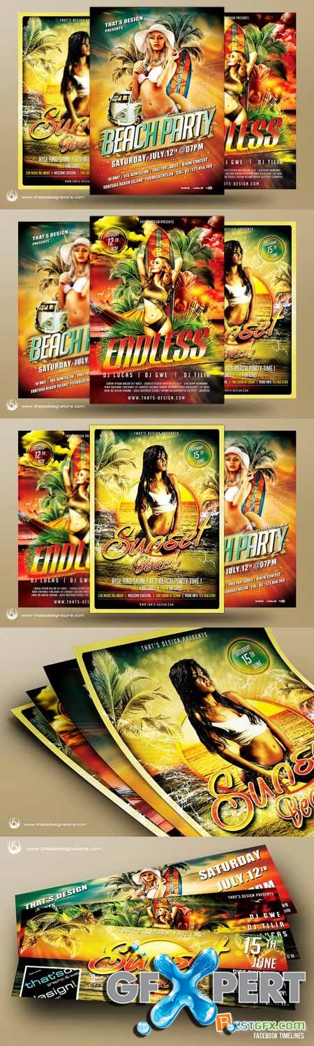 Creativemarket Beach Party Flyer Bundle V1 249263