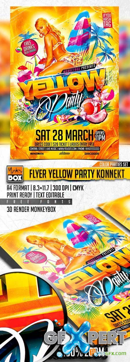 Graphicriver Flyer Yellow Party Konnekt 10881466