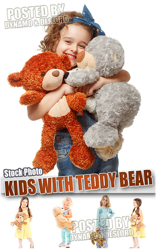 Kids with teddy bear - UHQ Stock Photo