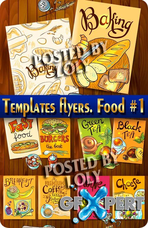 Flyer templates. Food #1 - Stock Vector
