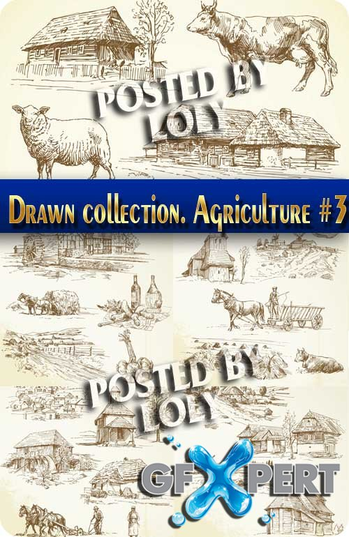 Hand drawn collection. Agriculture #3 - Stock Vector