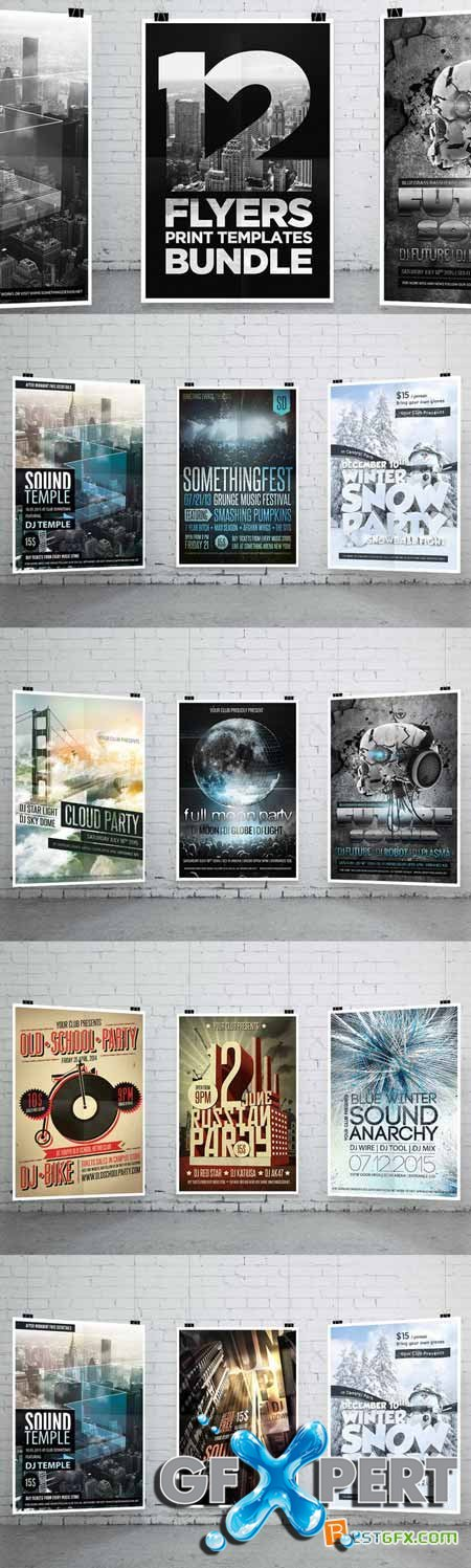 Creativemarket 12 Party Flyers Bundle 265336