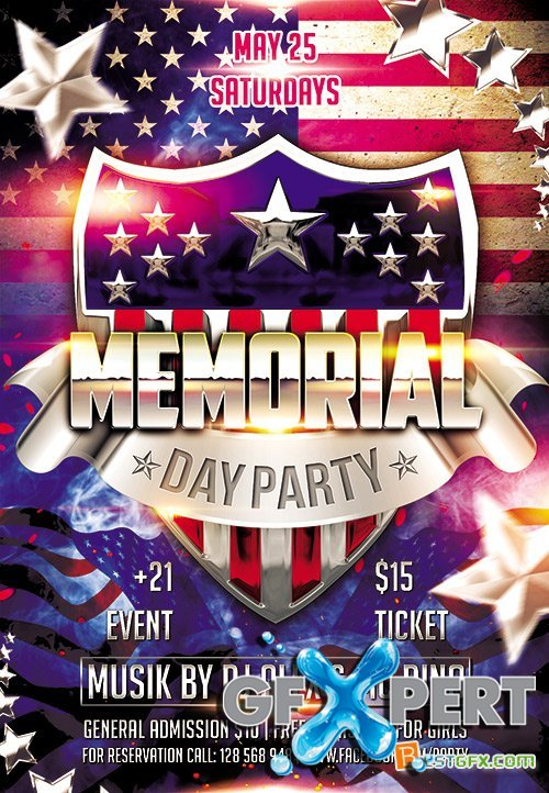 Memorial Day Party 2 Flyer PSD Template Facebook Cover