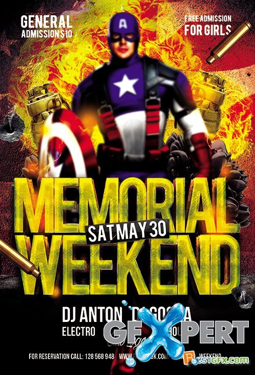 Memorial Weekend Club Flyer PSD Template Facebook Cover