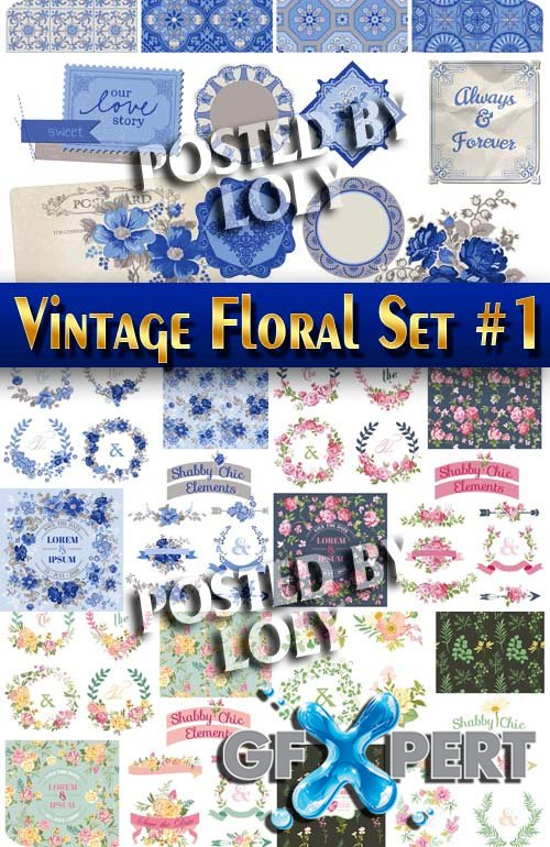 Vintage Floral Set #1 - Stock Vector