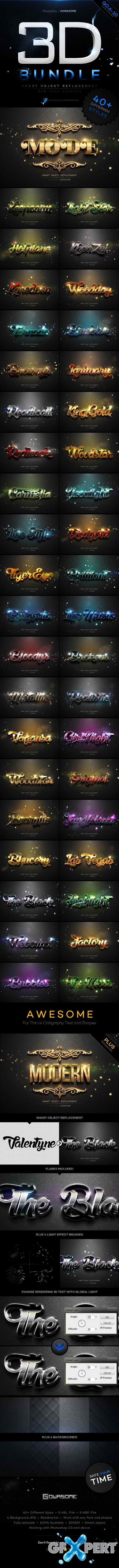 Graphicriver - Modern 3D Text Effects Bundle 11439996