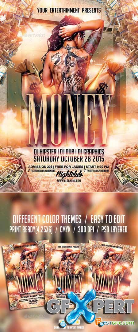 Graphicriver Cash Money Party Flyer PSD Template 10033750