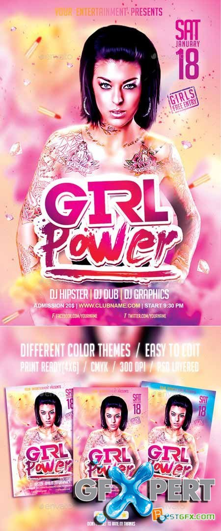 Graphicriver Girl Power Party PSD Flyer Template 9492438