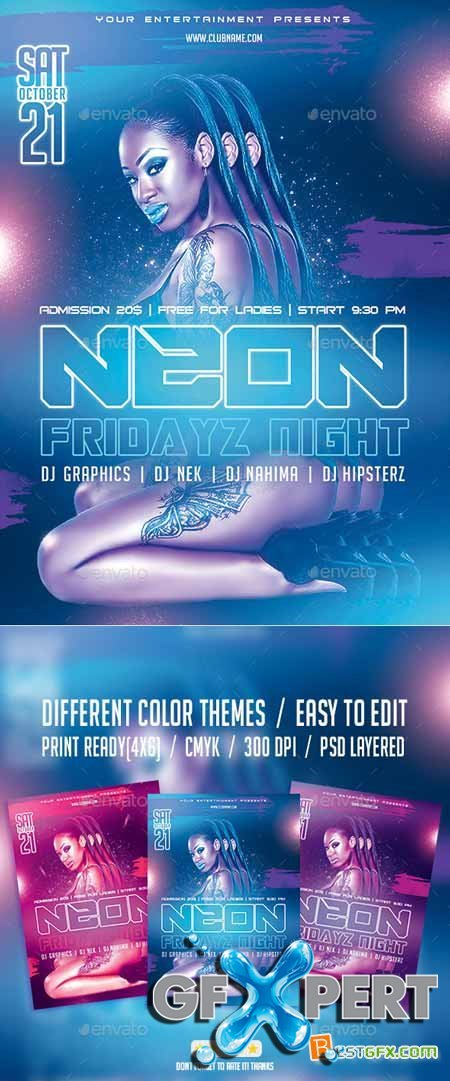 Graphicriver Neon Fridayz Night PSD Flyer Template 9532771