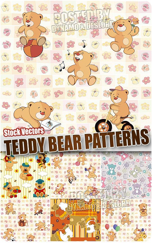Teddy bear pattern - Stock Vectors