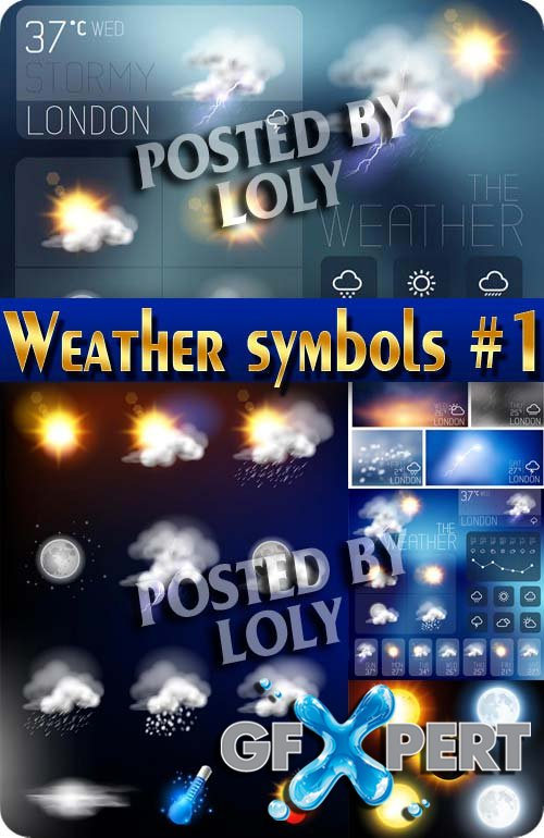Weather symbols #1 - Stock Vector