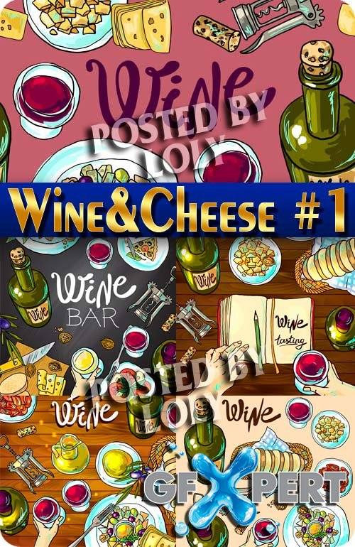 Wine and cheese #1 - Stock Vector