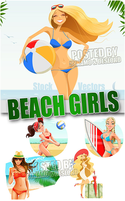 Beach girls - Stock Vectors