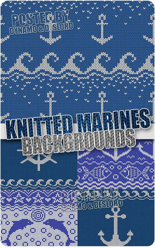 Knitted sea backgrounds - Stock Vectors